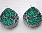 Teal Green Blue Silver Large Quilled Paper Circle Mod Modern Hoop Quilling Earrings Contemporary  075