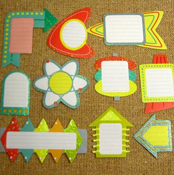 Retro Diner Arrow Stickers / Scapbooking / Journaling Spots / 1950's Style / Geometric (Glittered) 1 Dozen