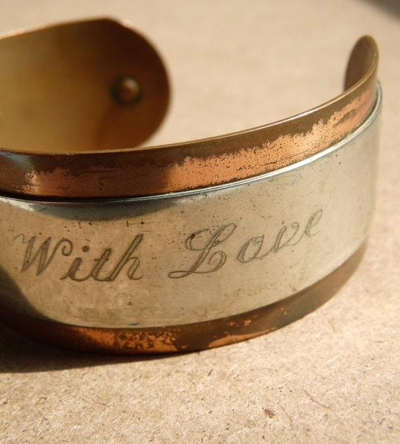 Vintage Copper Engraved cuff bracelet OOAK