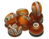 Handmade Lampwork Glass Beads Set Flameworked Topaz Silvered Ivory