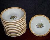 Homer Laughlin Rosemaling Neutral & Ochre Side Dish Set Fab Motif Eleven Pieces Like New