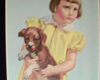 Art Supplement Lithograph Double Trouble  Print 1941 Girl and Dog Wall Art Child Life