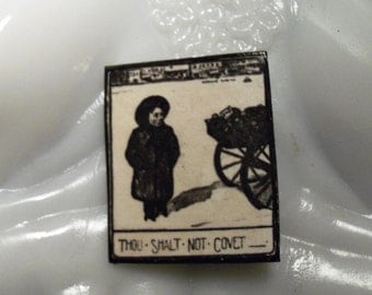 Miniature Art Pin Thou Shalt Not Covet in Black and White