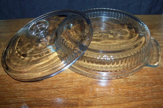 Kitchen Glass Heavy Round with Cover Fine Piece REDUCED & Shop SALE