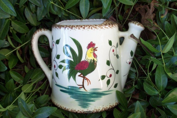 Wall Pocket Ceramic Midcentury Farmhouse Rooster Motif Handpainted Numbered Find