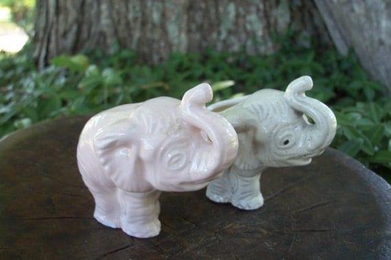 Elephants Toothpick Holder & Shaker Midcentury Table or Shadowbox Treasures