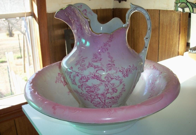 antique alba bowl and pitcher pink china set rare find. Black Bedroom Furniture Sets. Home Design Ideas