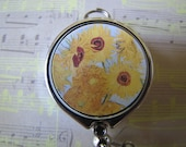 "Retractable ID Holder Badge Reel - Van Gogh's ""Sunflowers"" - Closeup (Silver Chrome)"