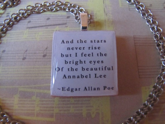 "Wood Pendant (1"" square) - Edgar Allan Poe - Annabelle Lee - Quote: ""And the stars never rise..."" (18"" Silver-plated Chain)"
