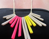 fluoro pink, yellow and sandy beige colour block fashion polymer clay 'sticks' necklace