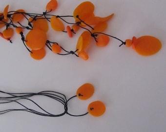 orange shell-like polymer bead cluster pendant necklace
