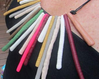 pink, green, gold and summer coloured and textured necklace