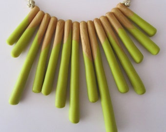 fluoro lime and shimmery gold colour block fashion polymer clay 'sticks' necklace
