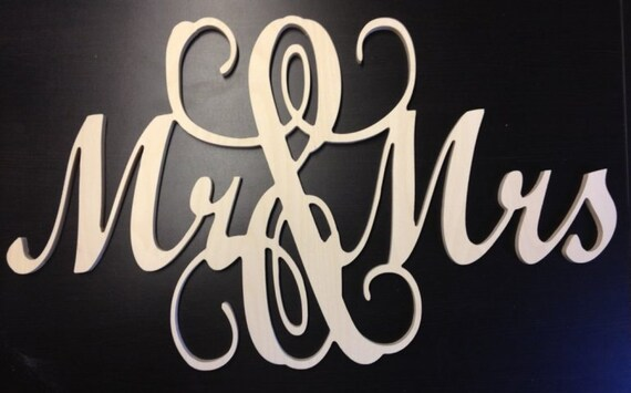 Mr and Mrs connected wooden monogram letters - WHITE  Weddings Home decor