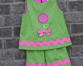 Lime Green and Fuschia RicRac and  Monogram Applique Tunic Top and Capri Pants set for Baby and Toddler Girls
