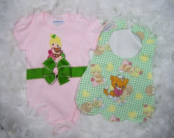 Precious Moments Baby Girl Gift Set: Onesie and Bib by FairyTale Frocks