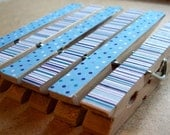 Set of 6 - Super Cute Decoupaged Clothespin Clips - Blue Polka Dot and Stripes