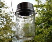 Upcycled Glass Mason Jar Solar Light Hanging Lamps Spring Summer Garden Party Wedding - Clear