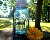 Antique Blue Mason Jar Solar Light Lantern Hanging Basket  - High Quality