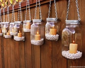 Hanging Mason Jar Luminary Lantern - Set of 10