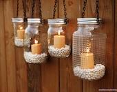 Mason Jar Lanterns Hanging Tea Light Luminaries - Set of 4
