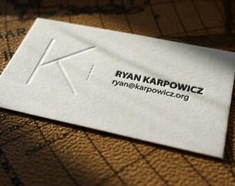 The Blind Monogram I –Custom Letterpress Printed Calling Cards 100ct