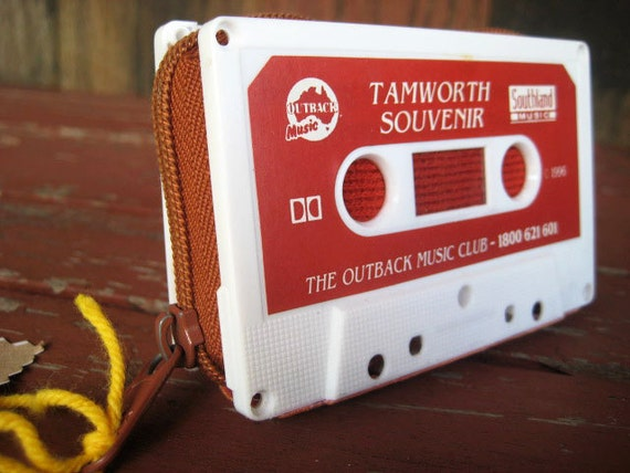 cassette tape wallet, retro and eco friendly handmade from recycled materials, australia outback music // OOAK // FREE SHIPPING //