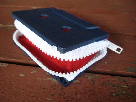 ecofriendly cassette purse, Red, White & Blue // FREE SHIPPING // retro OoaK wallet handmade from recycled mixtape