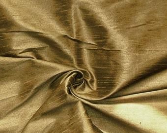 Fat quarter of bronze  gold 100% pure dupuoni silk