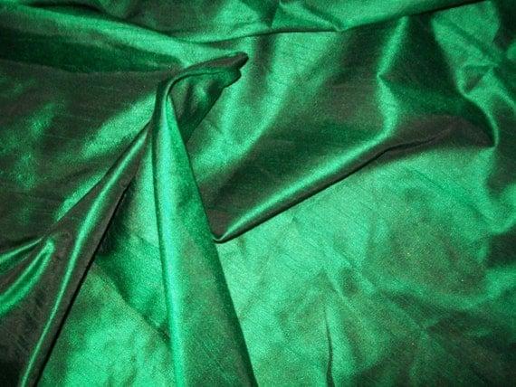 Half yard light  Emerald  Green dupioni poly  silk