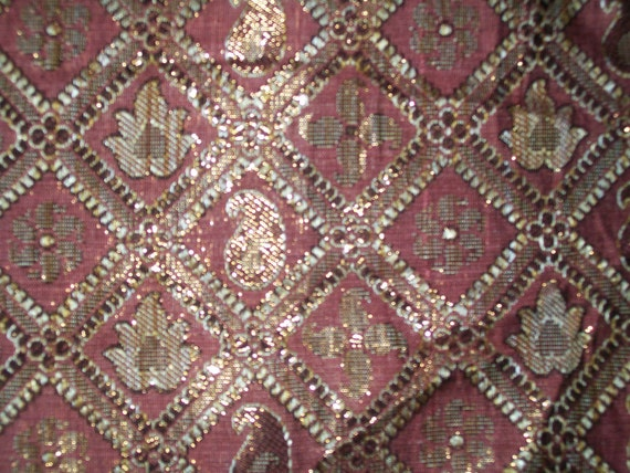 Fat quarter  Indian silk brocade fabric  in a pinkish brown  color