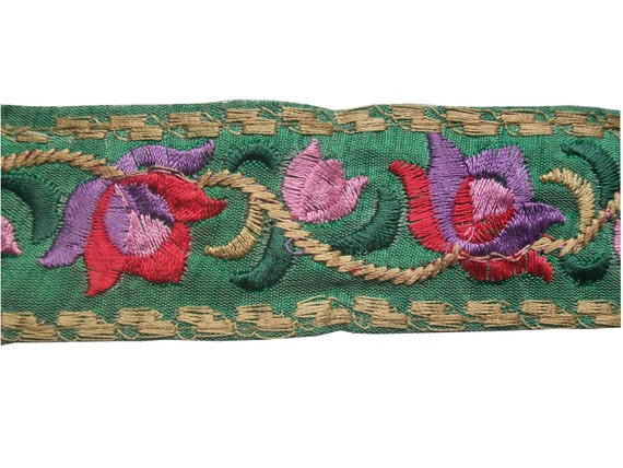 1 Yard Embroidered Ribbon on dupion silk in a gorgeous floral design on a lovely pastel green base