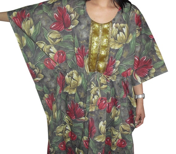 Long Kaftan on deep green with flowers (Getting ready robes, Nursing mothers, Bridesmaids gifts, Beach cover up, Lounge wear )