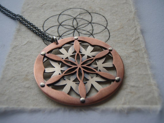 Double Layer Flower of Life Pendant - oxidised copper and sterling silver - Handcrafted Sacred Geometry Jewellery