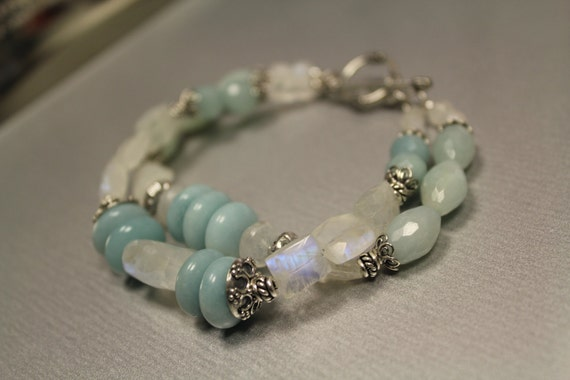 Amazonite, Rainbow Moonstone, Sterling Silver Bracelet