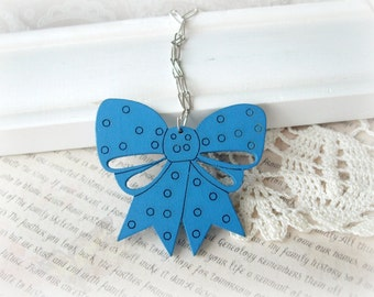 ON SALE  Blue Wooden Bow Necklace