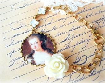 ON SALE  Cream and Brown Marie Antoinette Rose & Stones Bracelet