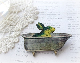 Yellow and Dark Green Bunny In The Bath Brooch