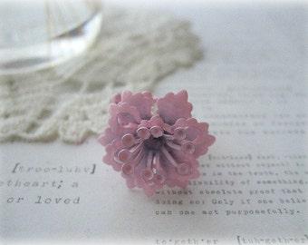Pink Filigree Ring with Pink Enameled Flower