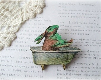 Brown and Green Bunny In The Bath Brooch
