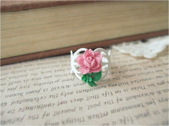 White Filigree Ring with Pink Rose Flower and Leaves