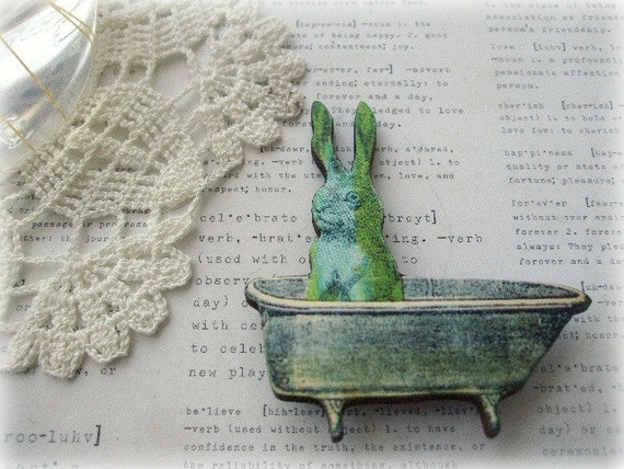Blue and Green Bunny In The Bath Brooch