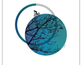 "Blue Branches Biker Illustration - Shape Play (8""x10"")"