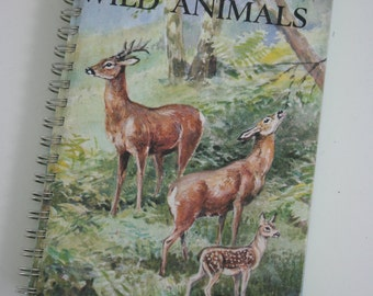 Ladybird Book British Wild Animals Notebook recycled from a vintage book