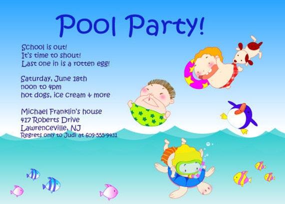 Schwimmbad Ende Schuljahr Sommerfest Party-Einladungen DIY