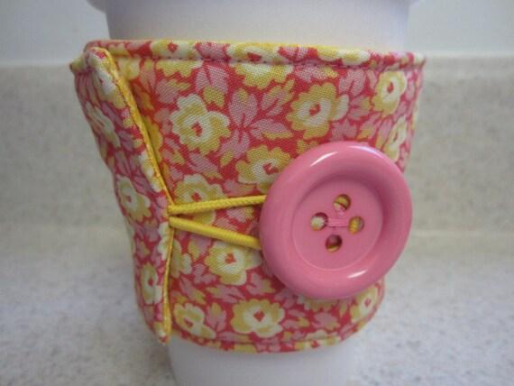 Pink and Yellow Flowers Coffee Cozy - Coffee Sleeve