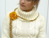 Rose felted wool necklace, choker, lariat, bracelet or belt in Mustard Yellow with silk cord