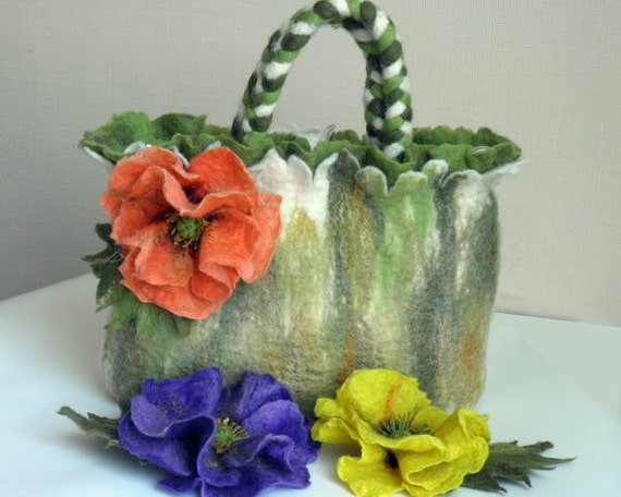 """felted wool purse """"Dream Poppies"""" purse felted with flower brooches"""
