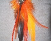 Feather Hair extension - snap clip - Orange Explosion 5""