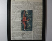 Rock Climbing Art Print ... On Recycled Dictionary Page  ... 8x10 ... Framed ... Item No. A154